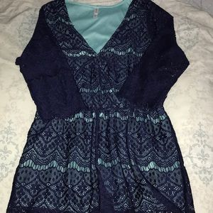 Blue and navy blue lace romper
